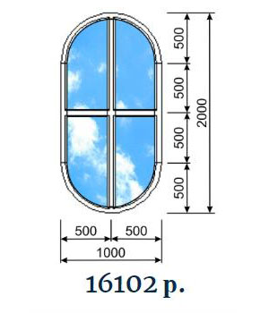 Овальное декоративное окно с импостом